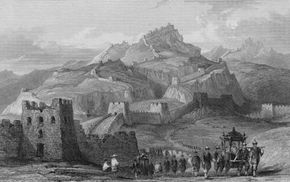 This engraving of the Great Wall of China shows some of the treacherous terrain that the barrier winds across.