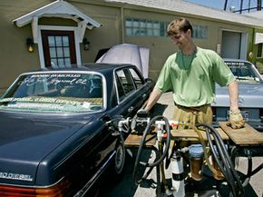 Valentin Humer pumps his Mercedes full of recycled grape seed oil.