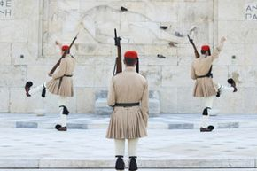 A kiltlike garment known as a foustanella is part of the traditional costume for men on mainland Greece.