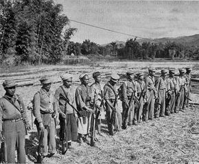 A squad of Burmese tribesmen assembled and trained to fight the occupying Japanese by an OSS detachment in World War II.