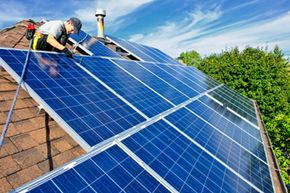 Installing solar panels is a more costly project that will take time to pay dividends. See more green science pictures.