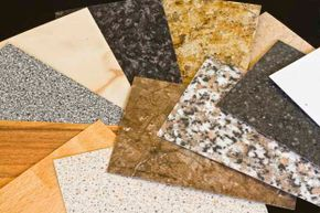 Kitchen countertops can be made of many types of materials, including recycled paper.