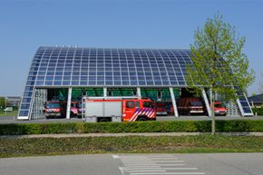 Solar panels integrated in the roof of a fire station at Houten, near Utrecht, in the Netherlands.