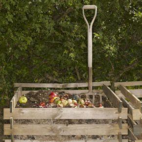 A homemade compost bin