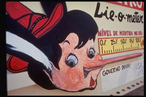 A Brazilian environmental group protests alleged greenwashing with a Pinocchio Lie-O-Meter.