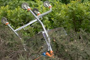 You don't want your grocery cart to end up all alone and upside down like this one, do you?