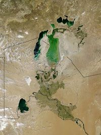 This aerial photograph shows damage to the Aral Sea caused by diversion of its water.