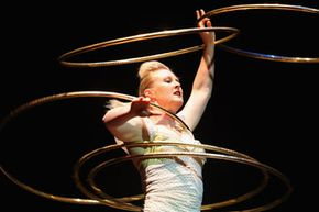 Circus Oz performer Eli Green hoops it up during a 2009 dress rehearsal.