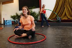 Betty Hoops leads a hoop dance class at a yoga health festival in 2004.
