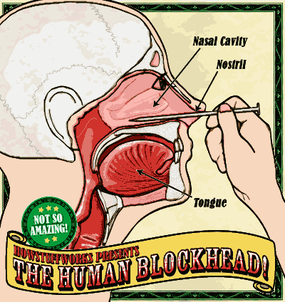 The nasal cavity is an open area below the eyes and is where a nail enters the skull in the act.