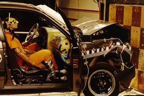 The result of a head-on collision between car and wall at an automobile safety research facility in Wolfsburg, Germany.See more car safety pictures.