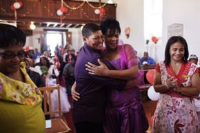 This same sex couple married in the chapel of the former apartheid prison of Robben Island in 2010, but it wasn't so long ago that homosexuality was illegal in South Africa.