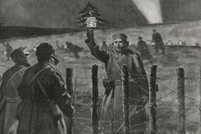 This illustration of a German soldier approaching the British lines with a small Christmas tree appeared in a newspaper report of the Christmas Truce.