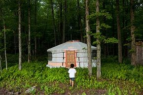Members of the rewilding community often live in traditional dwellings, like this yurt in Canada.