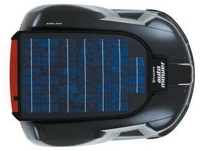The mower's 12-watt solar photovoltaic solar cell panel keeps it running fuel-free.