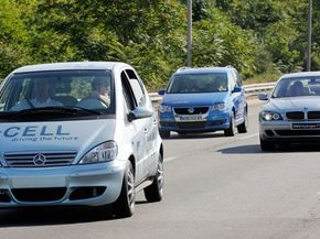 Hydrogen-powered vehicles from Daimler, Volkswagen and BMW cruise on a New York highway. The cars were part of a 31-city, Hydrogen Road Tour that also includes hydrogen-powered vehicles from GM, Honda, Hyundai, Kia, Nissan and Toyota.