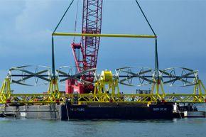 Ocean Renewable Power's TidGen turbine generator unit being readied for installation at the Cobscook Bay Tidal Energy Project site
