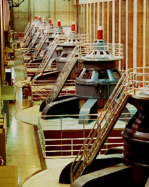 The giant generators at Hoover Dam produce more than 2,000 megawatts.