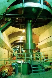 The shaft that connects the turbine and generator