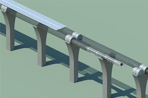 You're looking at a Hyperloop capsule in tube cutaway with attached solar arrays.