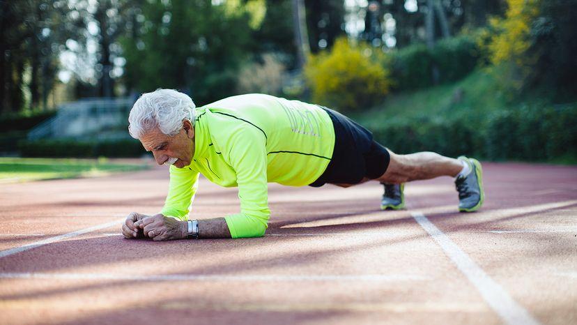 senior man doing pushups