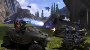 The Warthog and Mongoose ATV in a multiplayer battle.