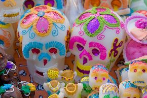 Each sugar skull represents a departed soul and is made of sugar paste. Although they can be eaten, the skulls normally just decorate a home altar or gravesite.