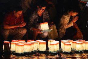 floating lanterns in Obon