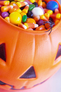 This pumpkin full of candy looks festive, but hopefully it didn't come from strangers. You should never eat candy that's been removed from its original packaging.