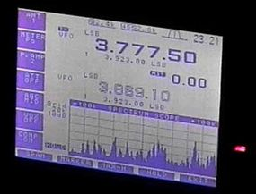 This LCD on a modern transceiver is displaying the spectrum of nearby stations. The band-scope at the bottom helps ham operators find signals.