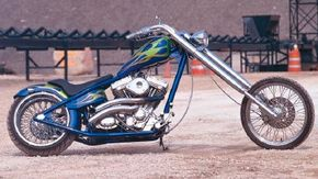 Hard Tail is a custom chopper with a creative color scheme and paint job. See more motorcycle pictures.