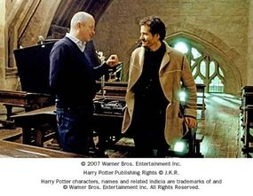 """Producers David Barron and David Heyman on the set of Warner Bros. Pictures' fantasy """"Harry Potter and the Order of the Phoenix."""""""