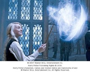 Witch-in-training Luna Lovegood uses her wand to attempt to summon a Patronus.