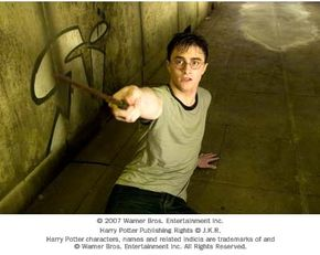 Harry Potter and his holly-and-phoenix-feather wand.