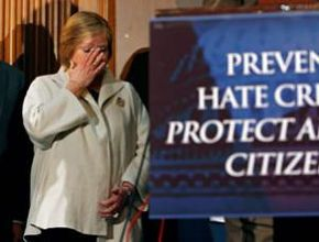 Judy Shepard tears up at the announcement that the Local Law Enforcement Hate Crimes Prevention Act would be named for her son Matthew, the late victim of an anti-gay hate crime.