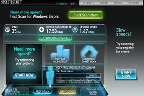 Web sites like speedtest.net offer free tests of your Internet connection's current upload and download speeds.