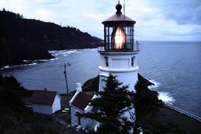 Visitors to Heceta Head lighthouse in Oregon are treated to this wonderful view of the rugged coastline. See more lighthouse pictures.