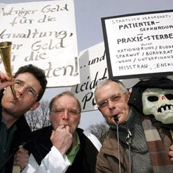German doctors protested in 2006 for higher wages.