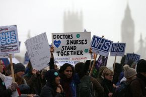 Student nurses and health workers demonstrate in London in 2016 against government plans to scrap the National Health Service grants given for training and to replace them with loans.