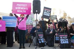 Both pro-life and pro-choice demonstrators showed up to make their voices known outside the Supreme Court during legal arguments over the Affordable Care Act in March 2012.