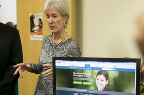 Health and Human Services Secretary Kathleen Sebelius visiting Austin, Texas on Oct. 25, 2013 after the rough launch of the Healthcare.gov signup site.