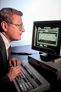 Technology lets people with hearing problems make phone calls over their computer like in this early IBM version.