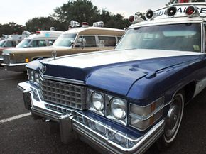 Cadillac ambulances from the 1970s and 1960s are displayed in Mt. Laurel, N.J., on Aug. 5, 2008 at a gathering of the Northeast U.S. Chapter of the Professional Car Society.
