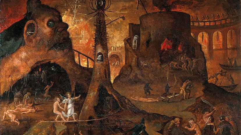 painting by Hieronymus Bosch shows an angel leading a soul to hell.