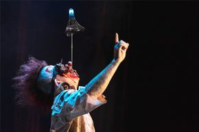 Hannibal Hellmurto, a sword swallower from the Circus of Horrors troupe, performs in London in 2015.
