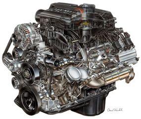 5.7-liter HEMI Magnum V-8 engine from the 2003 Dodge Ram