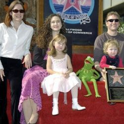 Henson siblings Lisa, Heather and Brian pose with their children and beloved Kermit the Frog as Jim posthumously receives a star on Hollywood's Walk of Fame.