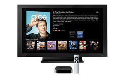 Apple TV gives access to movies, iTunes, TV shows and Internet radio stations.