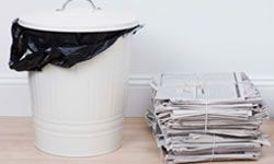 Keep stacks of recycling newspaper and cardboard outside of -- but not too close to -- your home, and periodically dust your recycling bins with a boric acid powder.
