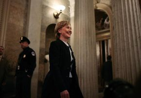 Hillary Clinton leaves the Senate after voting on confirmation of Samuel Alito to the Supreme Court in January 2006.